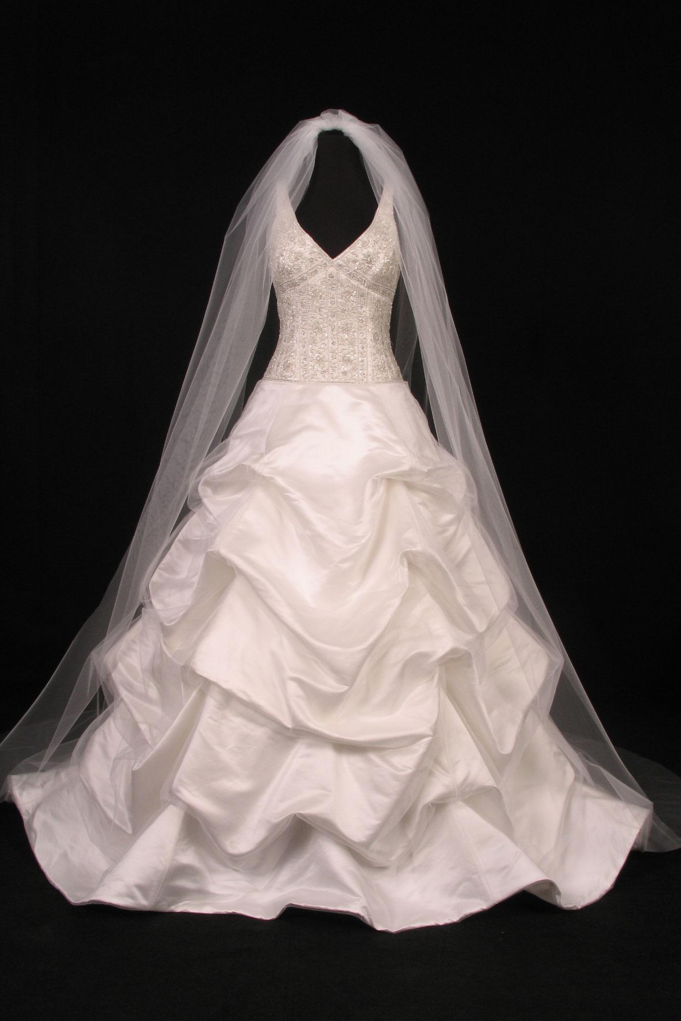 S0101VL Diamond White Cathedral Length Bridal Veil