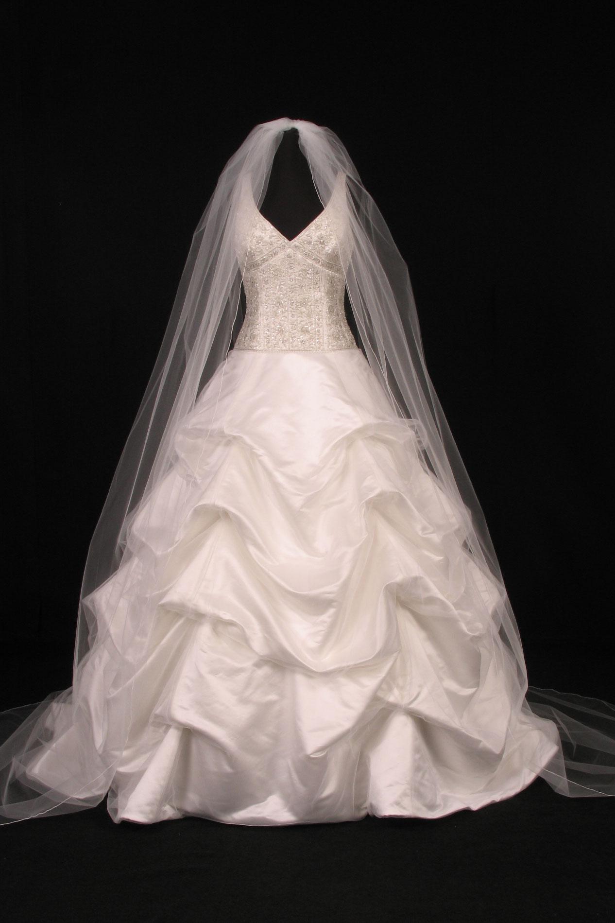 S0100VL Diamond White Cathedral Length Bridal Veil