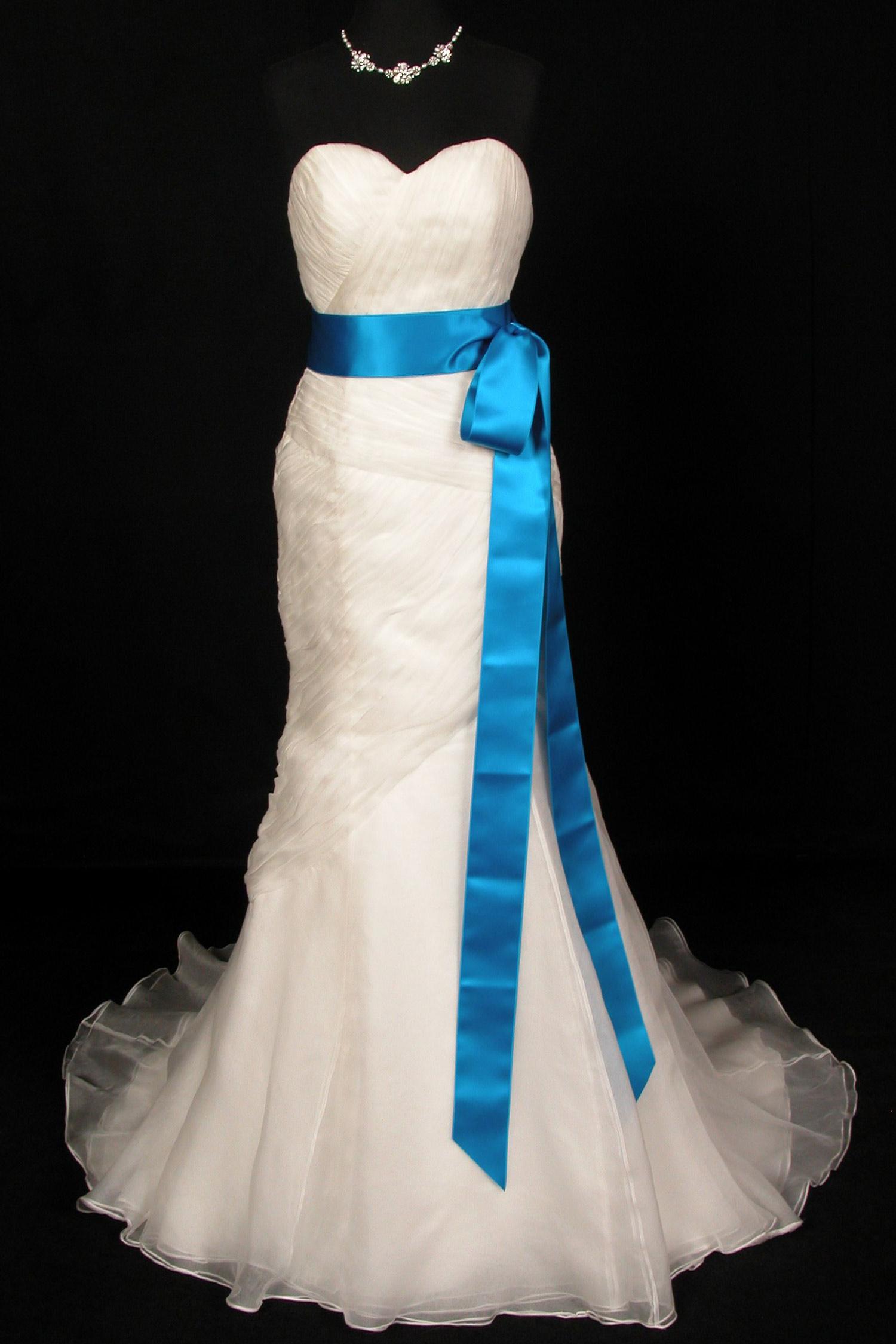 Marine Blue Double Faced Satin Ribbon Sash