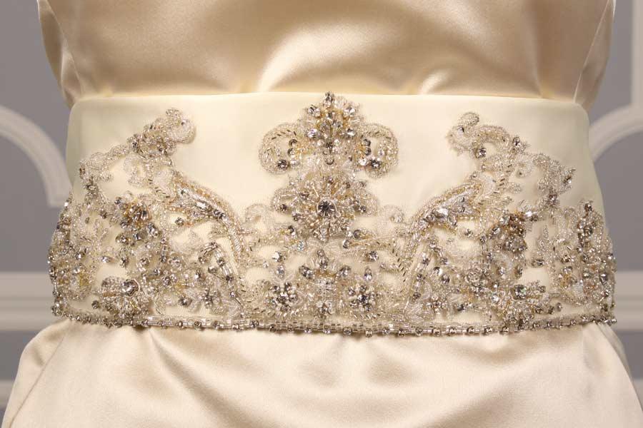 B517 Ivory Embellished Bridal Sash
