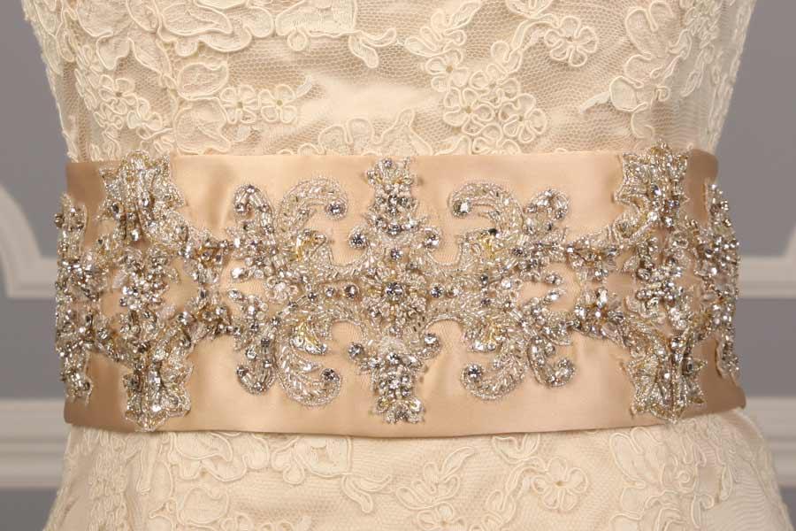 B519 Champagne Embellished Bridal Sash