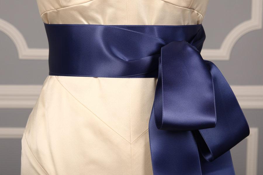 Denim Double Faced Satin Ribbon Sash
