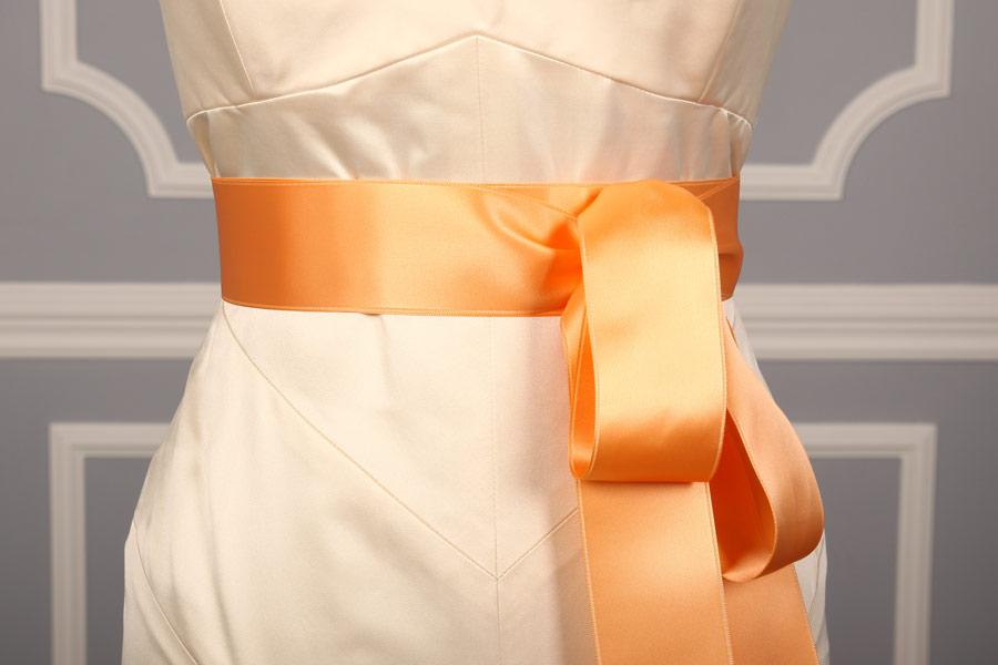 Light Apricot Double Faced Satin Ribbon Sash
