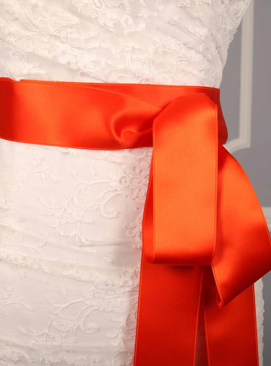 Autumn Orange Double Faced Satin Ribbon Sash