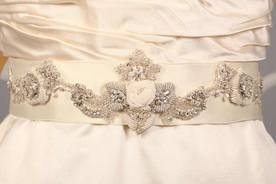 Badgley Mischka Hayward Ivory Embellished Bridal Sash