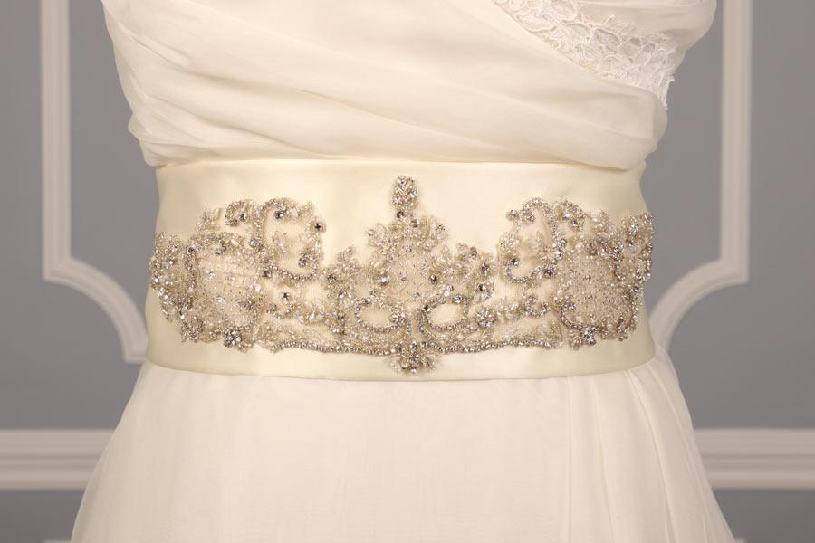 B510 Ivory Embellished Bridal Sash