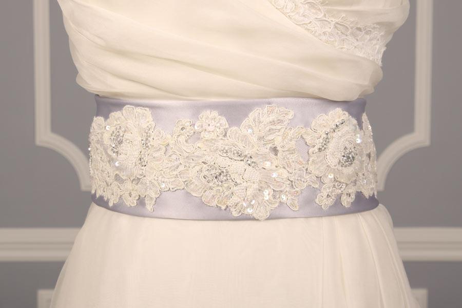 B511 Silver Embellished Bridal Sash
