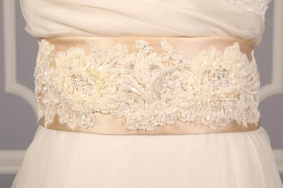 B512 Champagne Embellished Bridal Sash