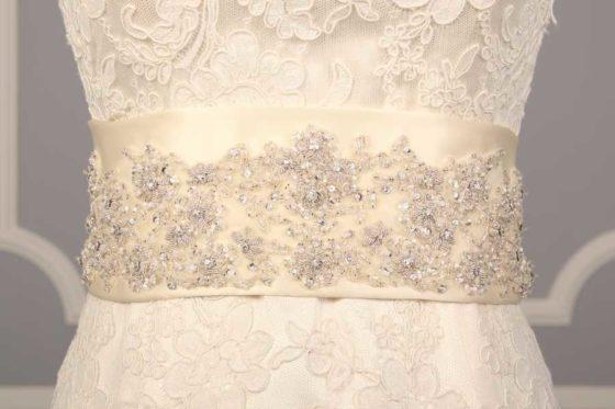 B518 Ivory Embellished Bridal Sash