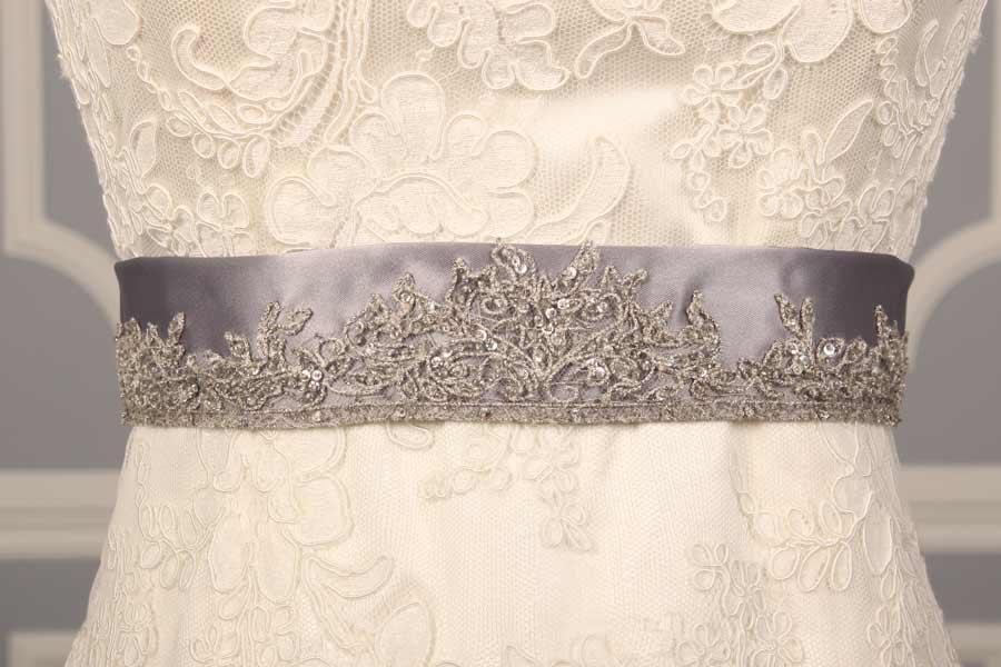 Silver Embroidered B522 Satin Sash