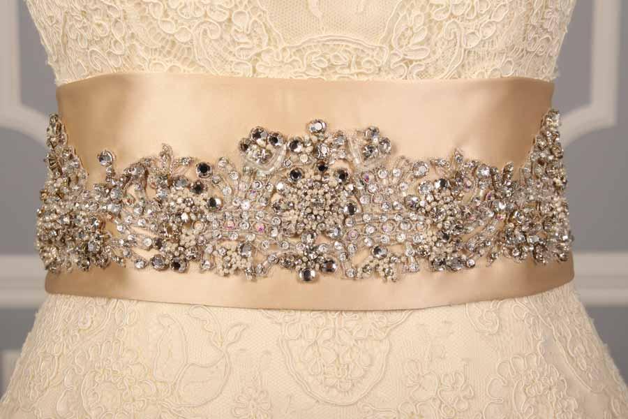 B521 Champagne Embellished Bridal Sash