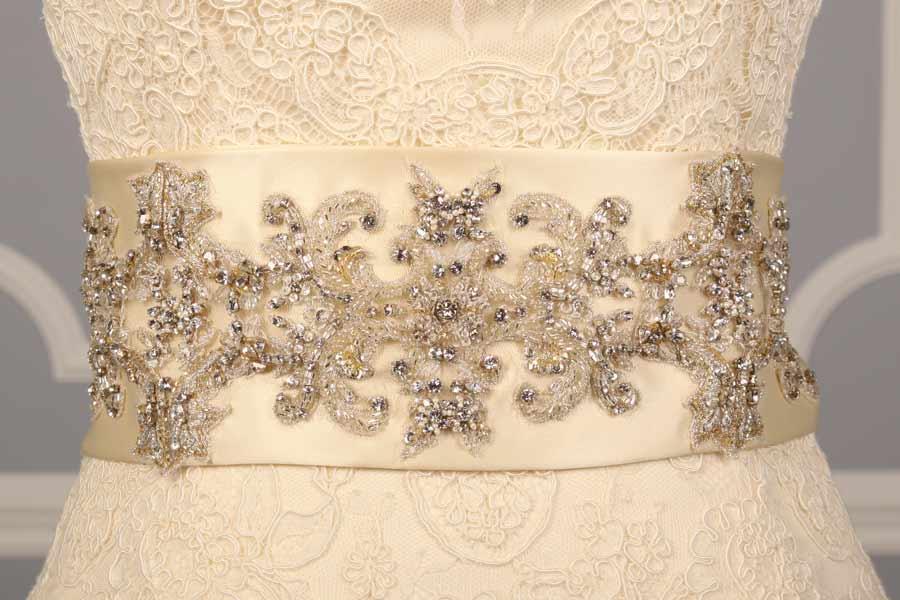 B523 Cream Embellished Bridal Sash