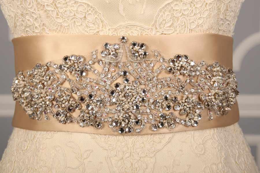 B525 Champagne Embellished Bridal Sash