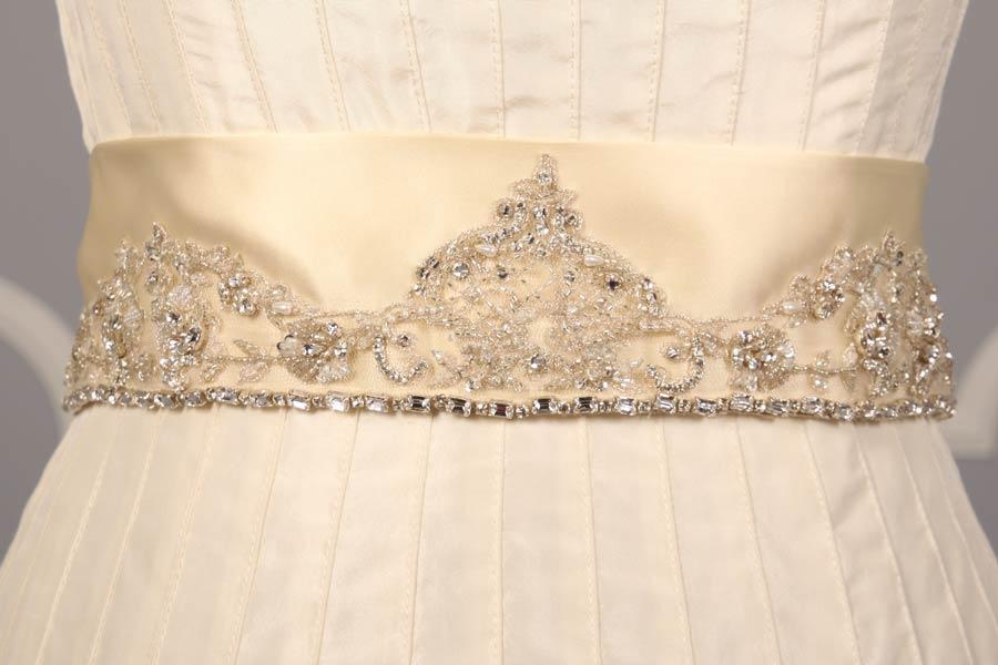 B500 Cream Embellished Bridal Sash