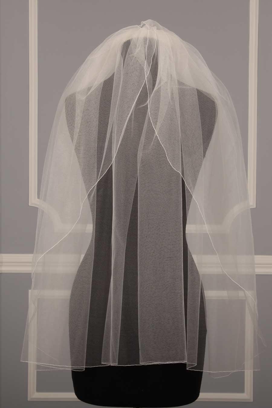 Jennifer Leigh 5017 Tulip Diamond White Waist Length Bridal Veil