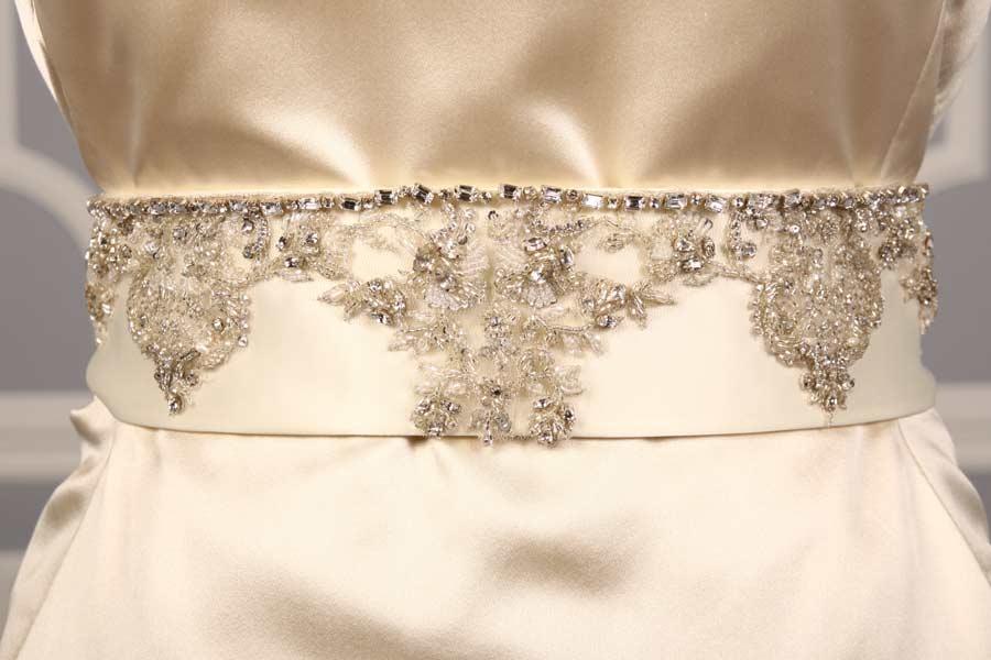 B536 Ivory Embellished Bridal Sash