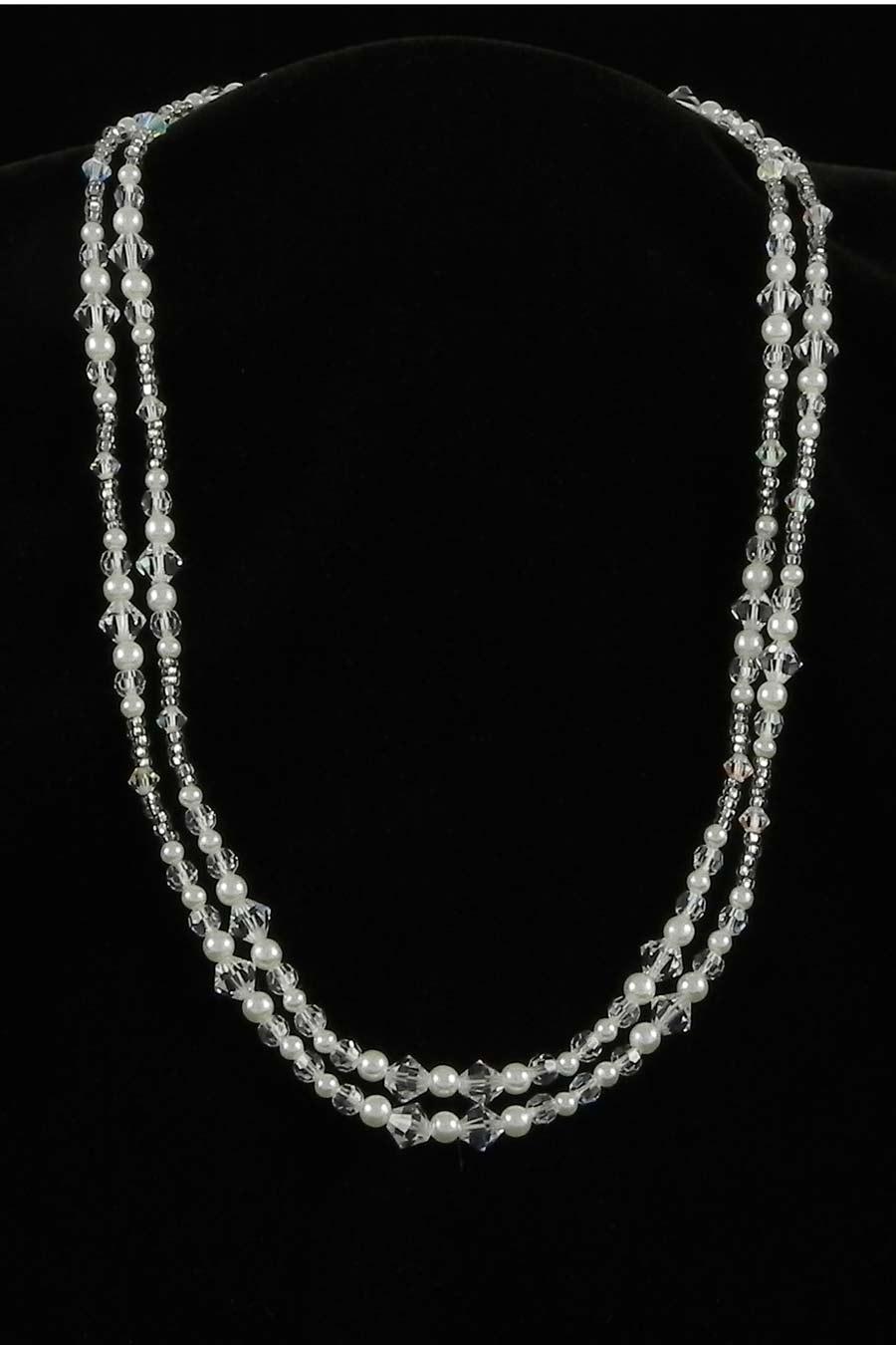 Toni Federici 2 Strand Silver & Pearl Necklace Bridal Jewelry