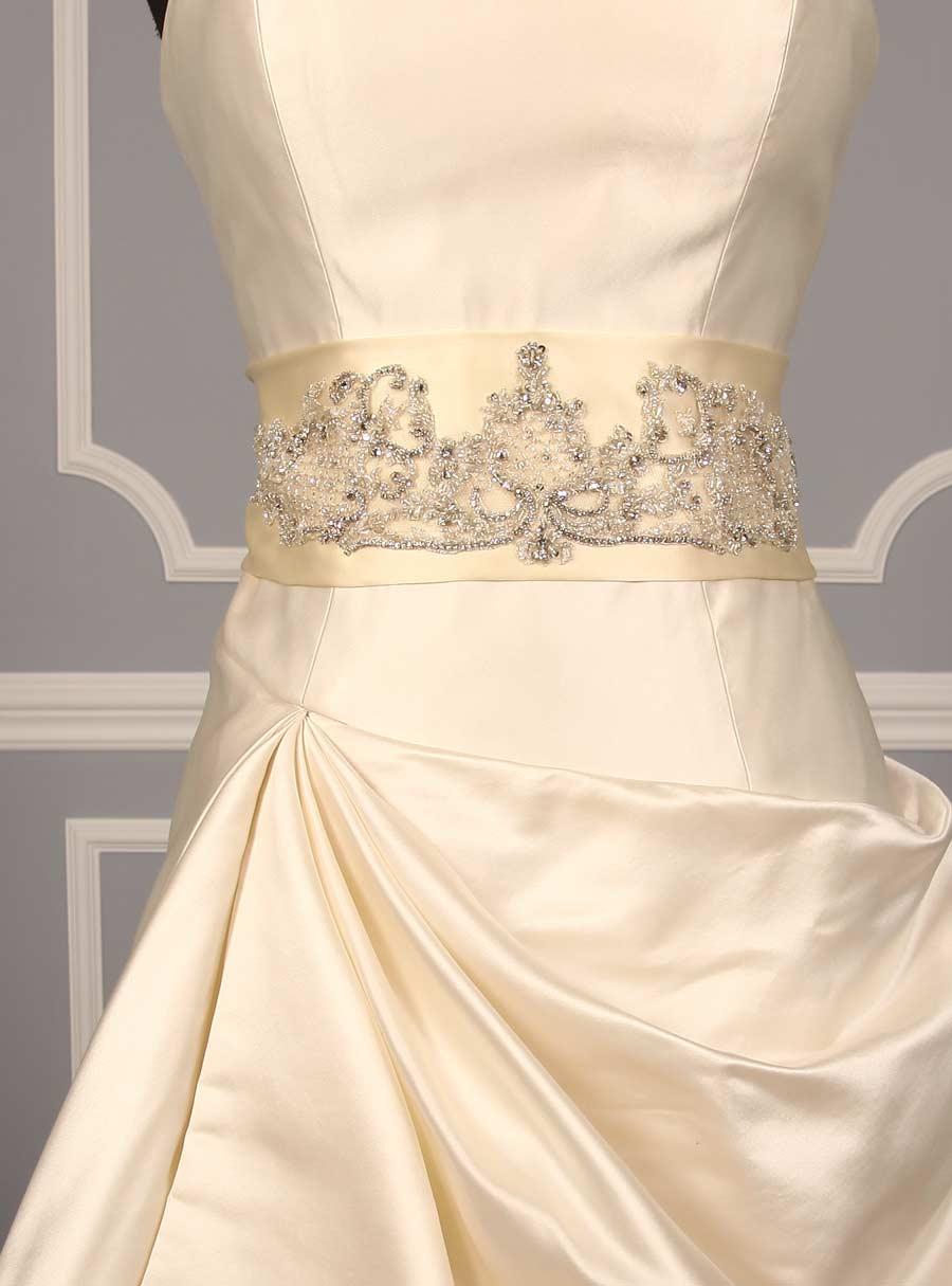 B509 Cream Embellished Bridal Sash