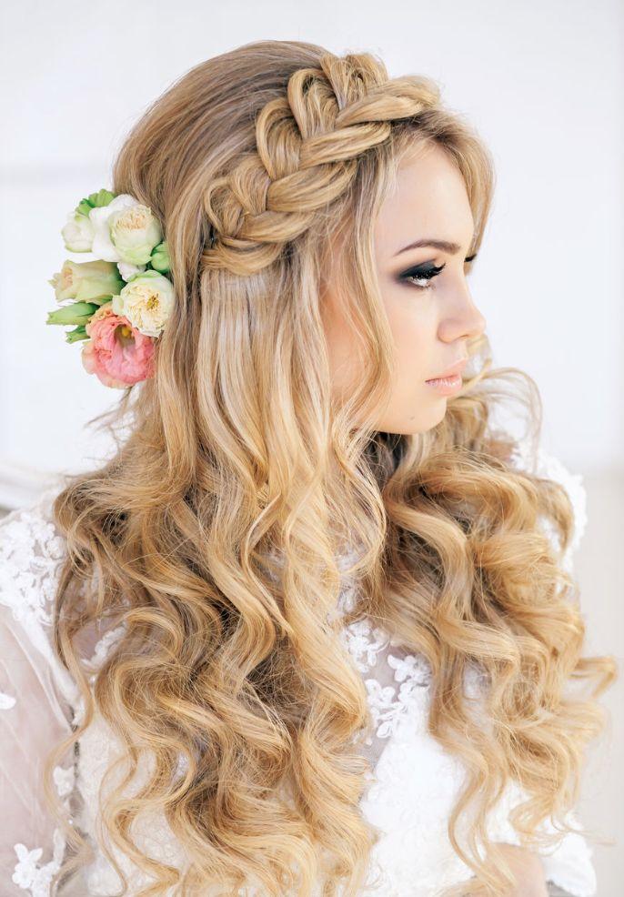 Long wedding hair with braid