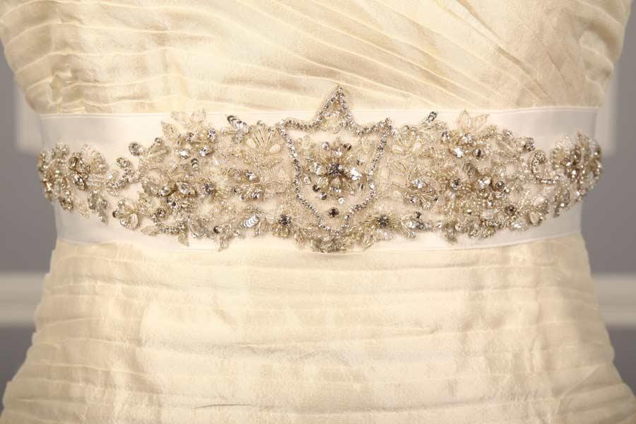 B555 Bridal White Embellished Bridal Sash
