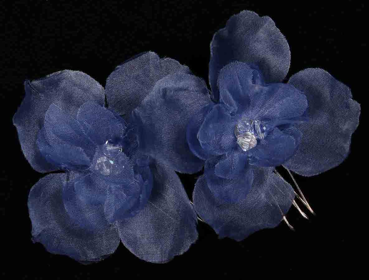 Ossai Set Of 2 Blue Hair Flowers Bridal Headpiece