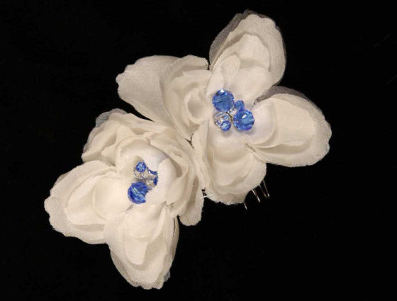 Ossai Set Of 2 Diamond White Hair Flowers Bridal Headpiece