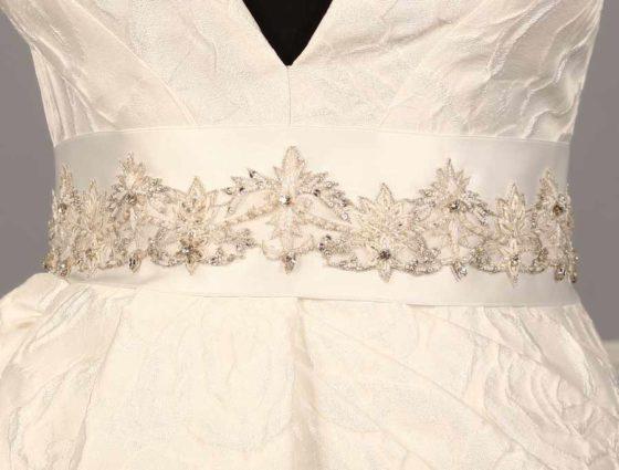 B602 Bridal White Embellished Bridal Sash