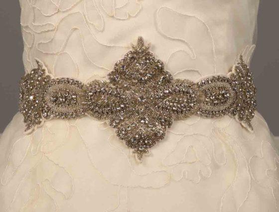 Ossai FW11-SH-17 Silver and Diamond White Embellished Bridal Sash Belt