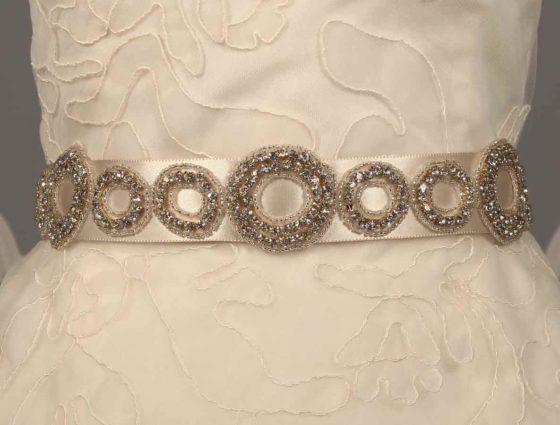 Ossai SS11-SH-10 Ivory Embellished Bridal Sash