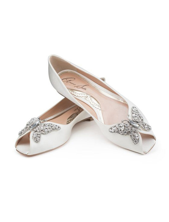Aruna Seth Liana Bridal Shoes Crystal Butterfly Peep toe Satin
