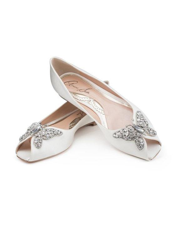 Aruna Seth Liana Bridal Shoes Crystal Butterfly Peep toe Satin