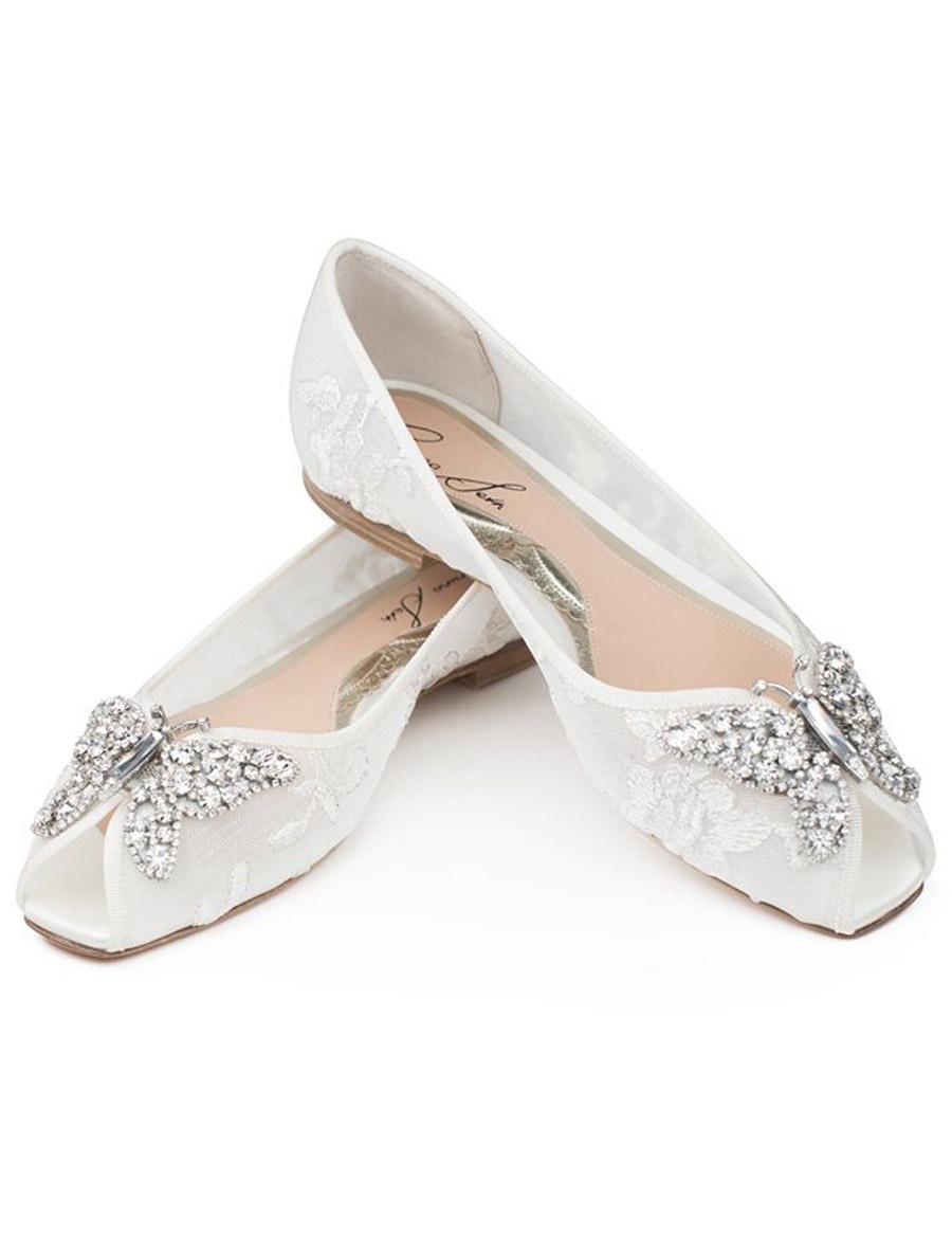 Lace Wedding Shoes.Aruna Seth Liana Crystal Butterfly Peep Toe Lace Flats Sizes 6m 8m 10 1 2m