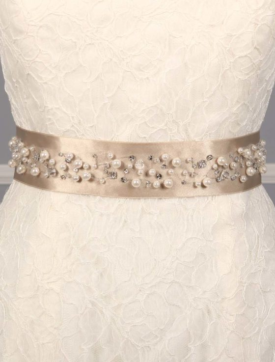 Champagne Embellished Bridal Sash