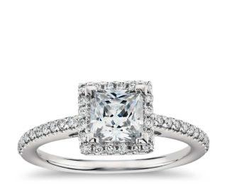 Blue Nile Princess Cut Diamond Engagement Wedding Ring